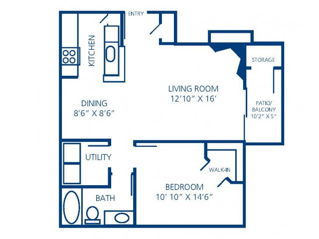 681 sq. ft. A floor plan