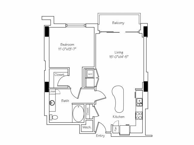 907 sq. ft. A8 floor plan
