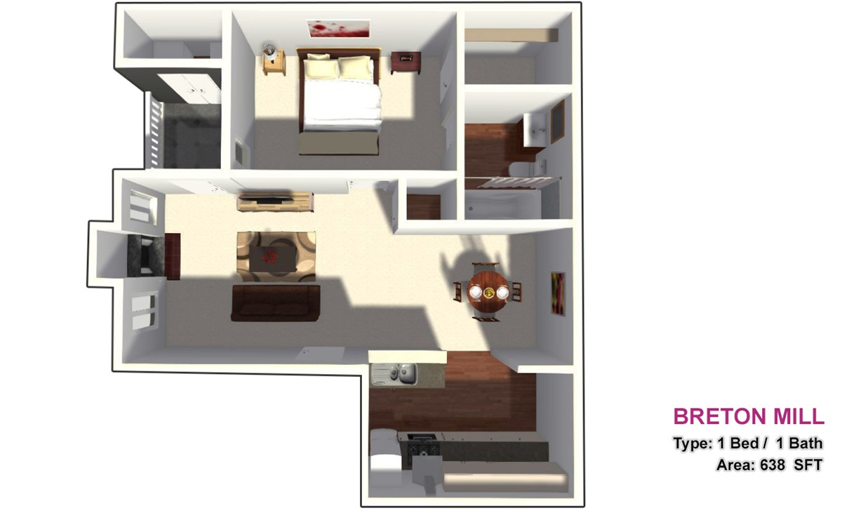 638 sq. ft. 1B floor plan
