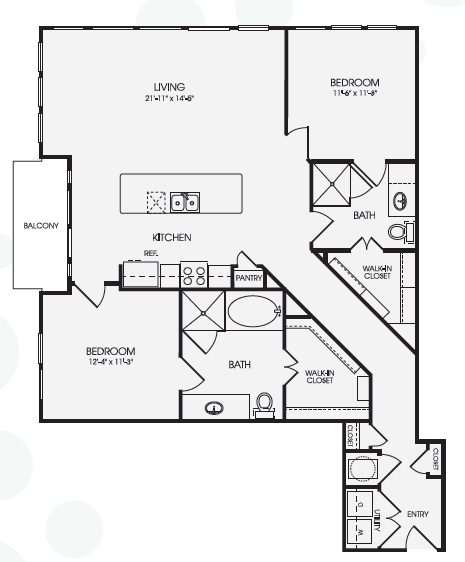 1,322 sq. ft. Sky/B5 floor plan