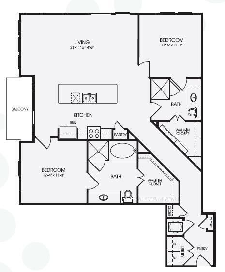 1,322 sq. ft. Sky/B5 floor plan