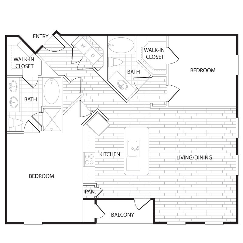 1,277 sq. ft. B5 floor plan