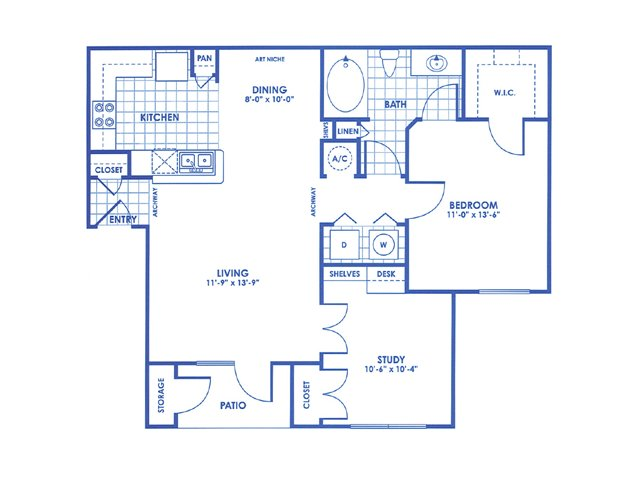 903 sq. ft. B1 floor plan
