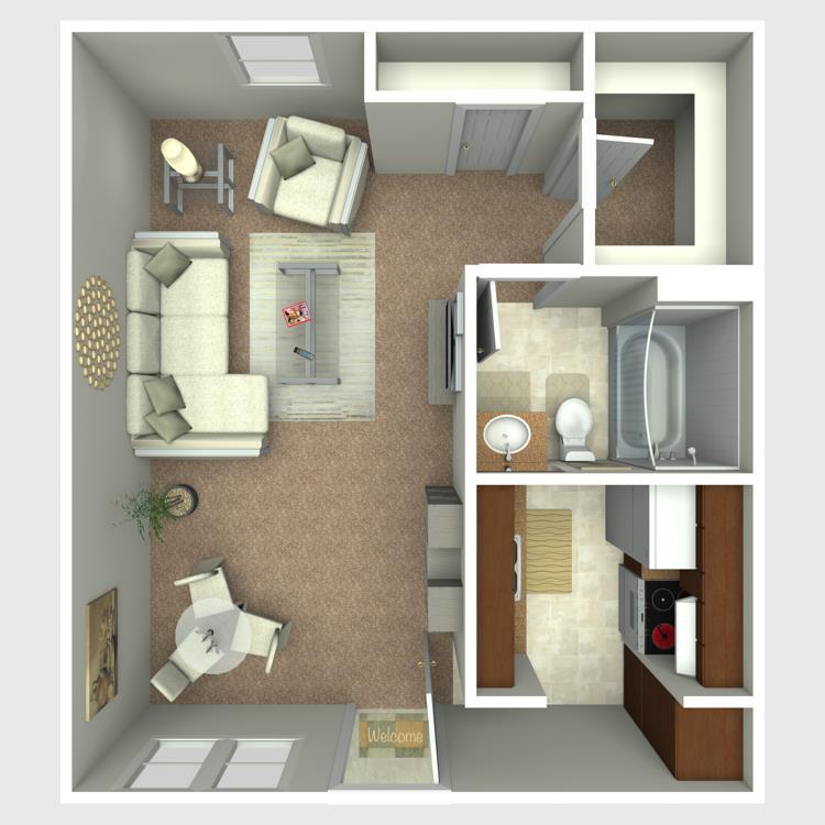 400 sq. ft. E3 floor plan