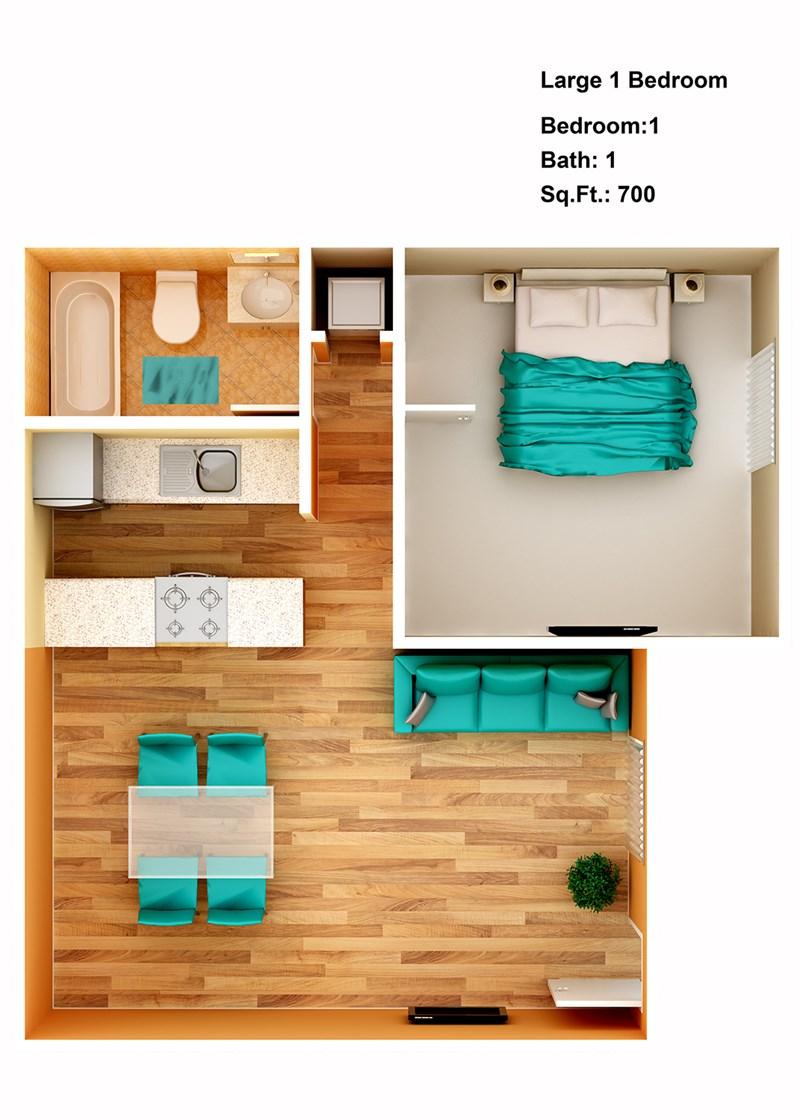 700 sq. ft. Large floor plan