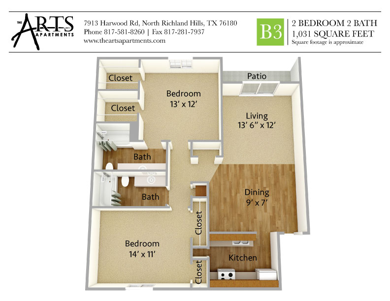 1,031 sq. ft. B3 floor plan
