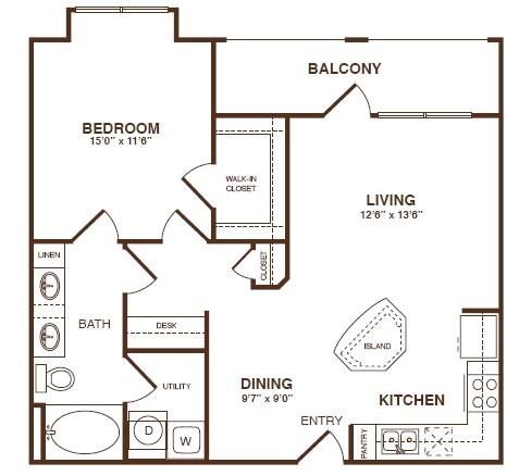 875 sq. ft. A3S floor plan