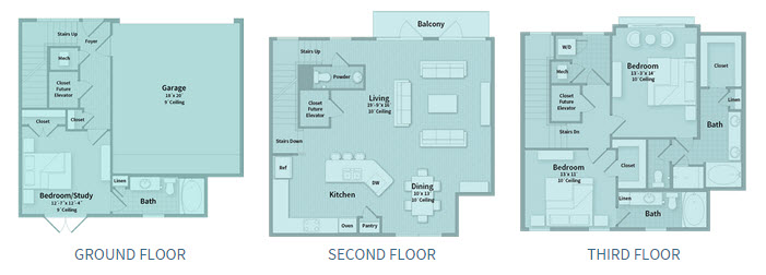 2,162 sq. ft. T1F floor plan