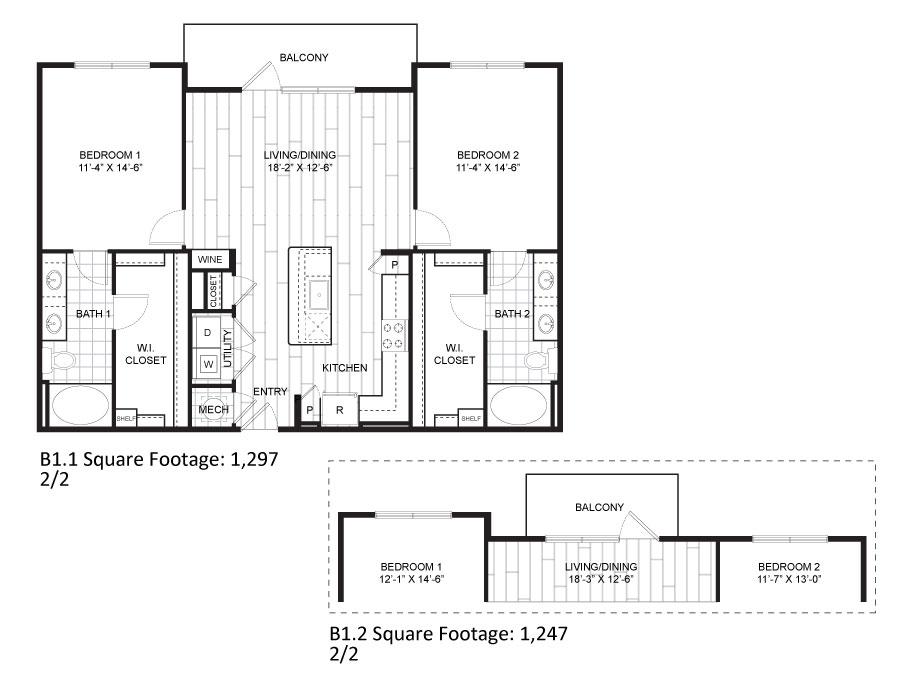 1,297 sq. ft. B1.1 floor plan