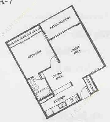 573 sq. ft. A6 floor plan