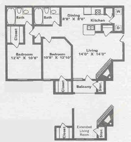 920 sq. ft. B4 floor plan