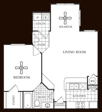 734 sq. ft. Birch floor plan