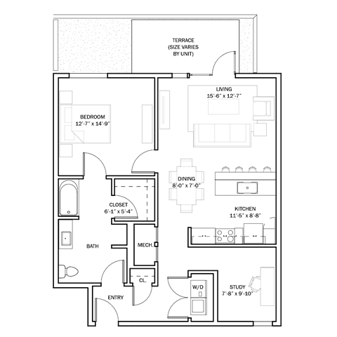899 sq. ft. B2 floor plan