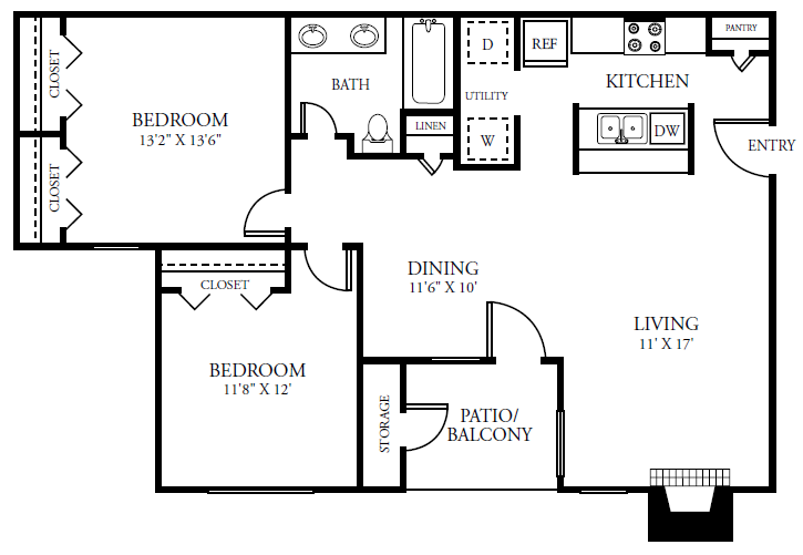 893 sq. ft. B1COTTAG floor plan