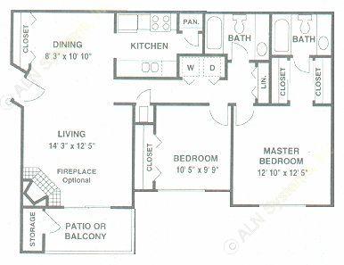976 sq. ft. C floor plan