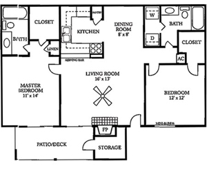 1,009 sq. ft. E floor plan