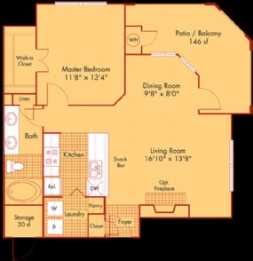 744 sq. ft. A11 floor plan