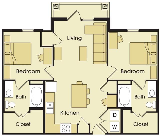 896 sq. ft. floor plan