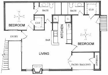 966 sq. ft. B floor plan