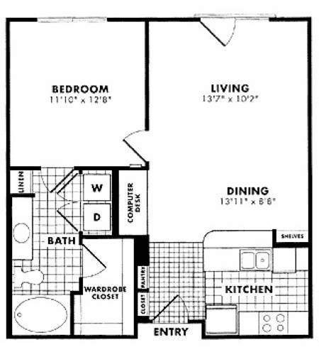740 sq. ft. to 757 sq. ft. Fitzhugh floor plan