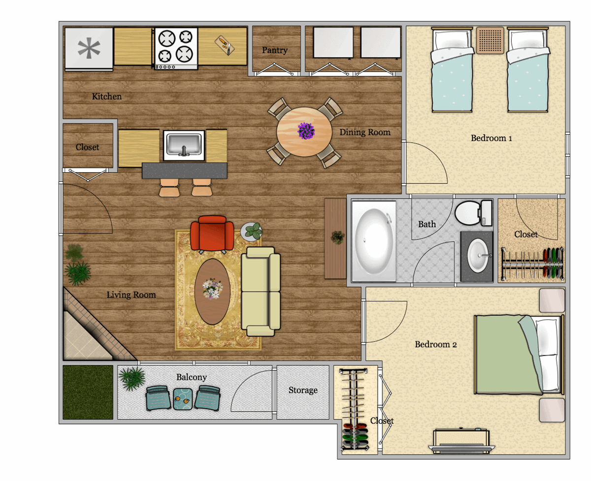 660 sq. ft. B1 floor plan