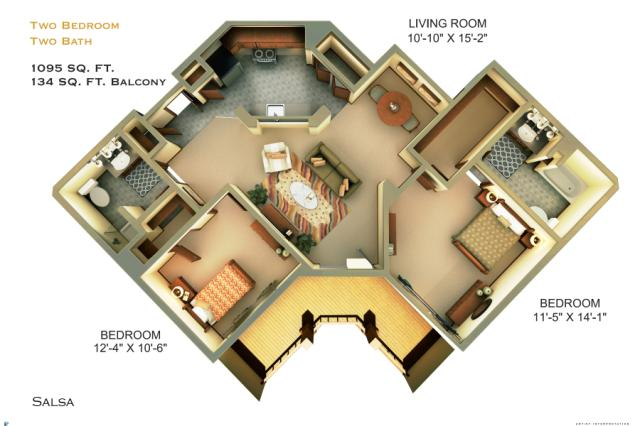 1,095 sq. ft. C5 floor plan