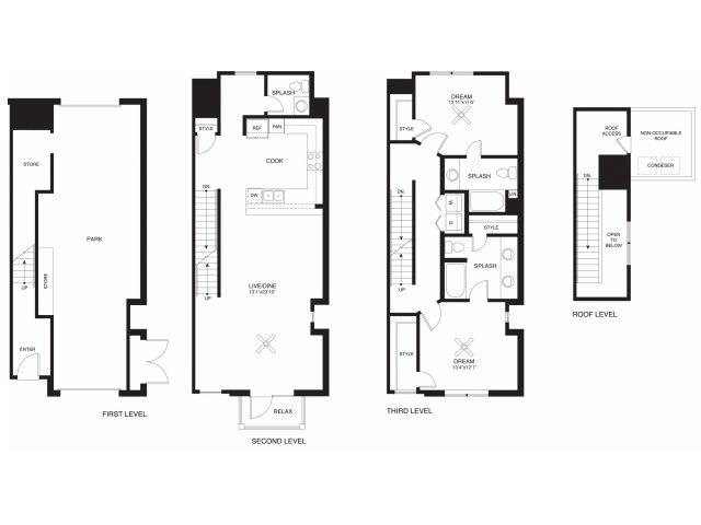 1,544 sq. ft. Bush floor plan