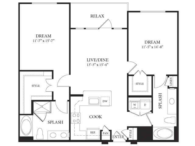1,149 sq. ft. Van Gogh floor plan