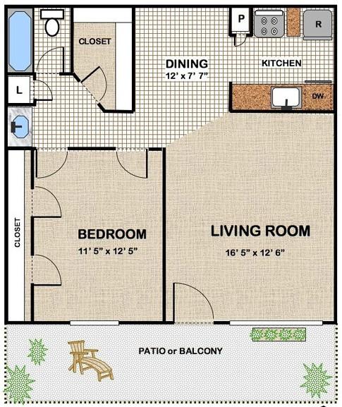702 sq. ft. floor plan