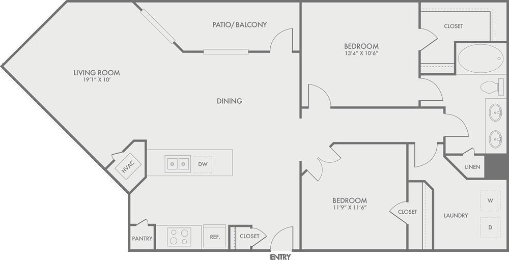 1,187 sq. ft. B4-1 floor plan