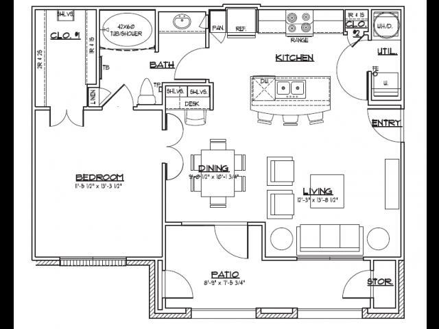 743 sq. ft. A1.1 floor plan