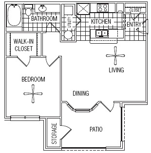 741 sq. ft. 50% floor plan