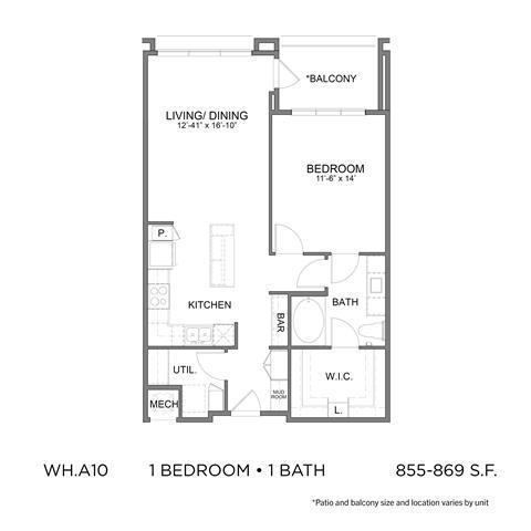 855 sq. ft. A10 floor plan