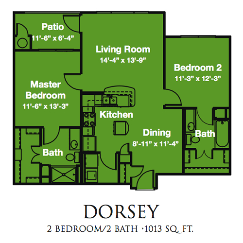 1,013 sq. ft. Dorsey/60% floor plan