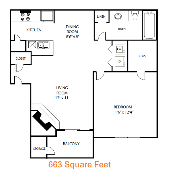 663 sq. ft. Spruce floor plan