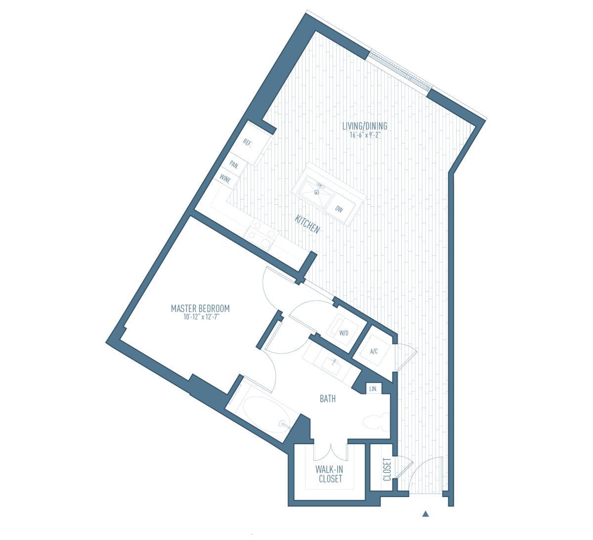 904 sq. ft. A7 floor plan