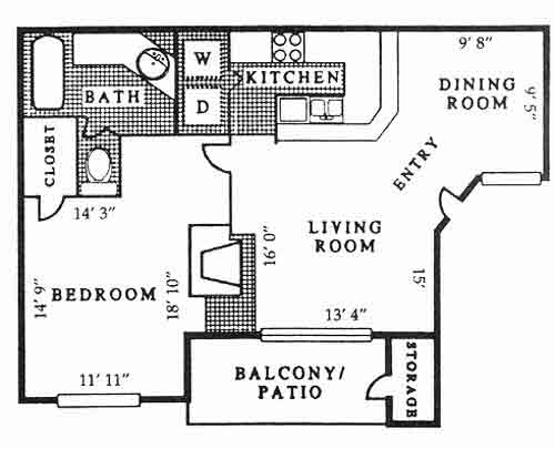 833 sq. ft. A6 PH B floor plan