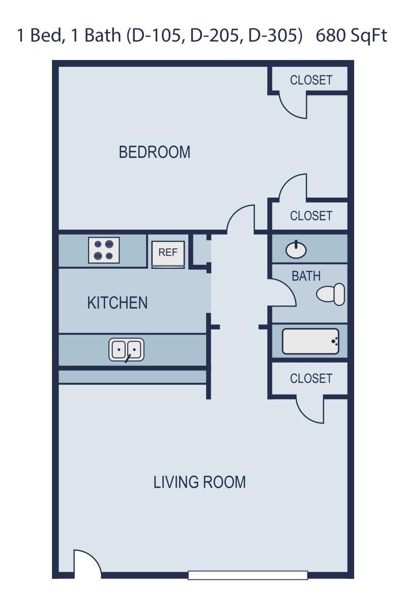 680 sq. ft. Newman floor plan