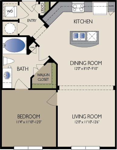 754 sq. ft. Moscow floor plan