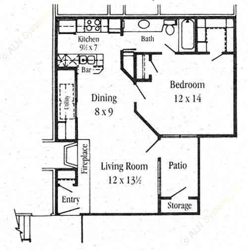 684 sq. ft. A-2 floor plan