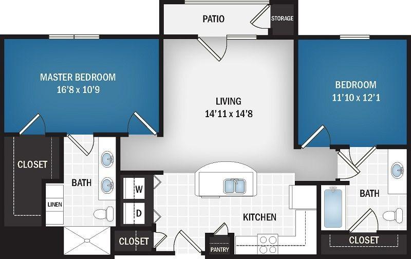 1,072 sq. ft. floor plan