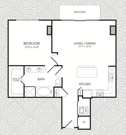 911 sq. ft. to 954 sq. ft. A10 floor plan