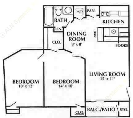 750 sq. ft. D3 floor plan