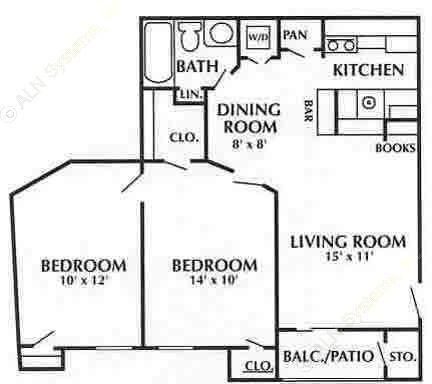 750 sq. ft. D3 floor plan