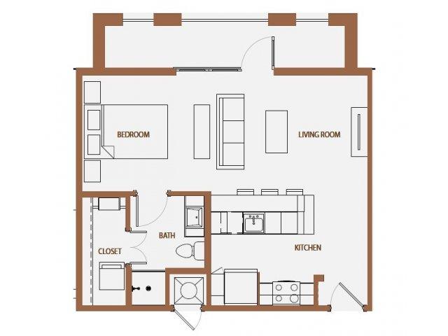 591 sq. ft. S2 floor plan