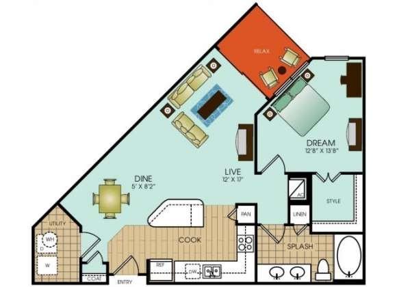 794 sq. ft. A11 floor plan