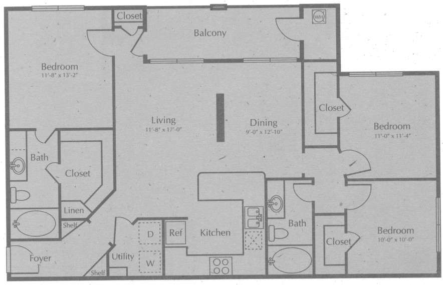 1,242 sq. ft. BOERNE floor plan