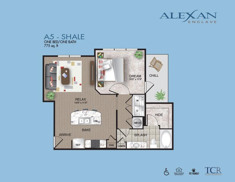 775 sq. ft. Shale floor plan