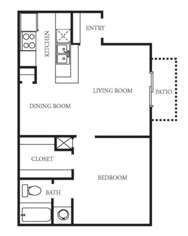 710 sq. ft. A2 floor plan