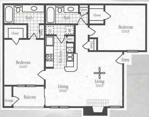 1,005 sq. ft. B2 floor plan